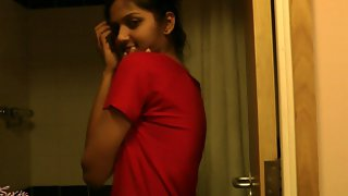 Sexy dark tanned Indian babe divya taking shower