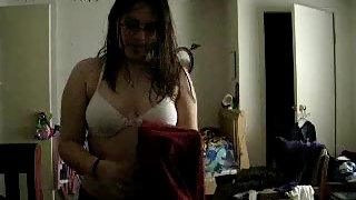 sweet Indian girl reena changing her bra after shower