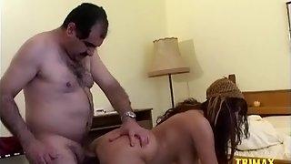 Mature Arab man enjoying sex in doggy style.