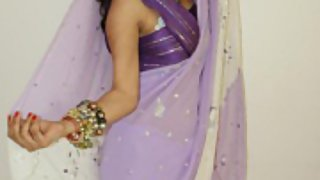kavya in Indian sari gifted by her website member