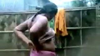 Indian village girl in open shower recorded