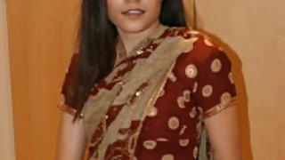 super Indian babe jasmine in sexy Indian saree stripping