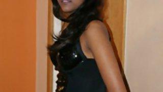divya in sexy black lingerie posing on camera