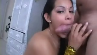 Hot girl enjoying blowjob
