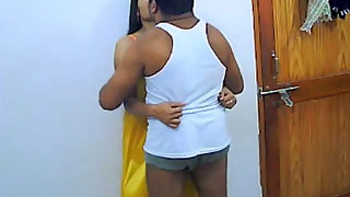 Mature couple enjoying in room
